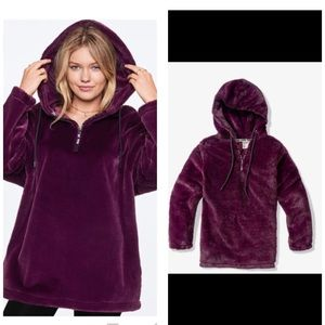 VS PINK Faux Fur Campus Half Zip Pullover